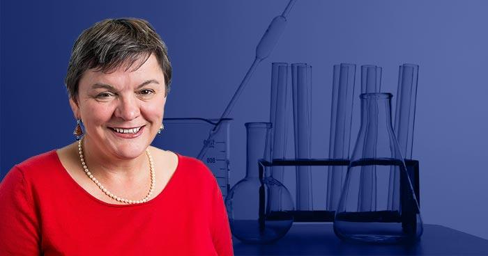 Headshot of Professor Sandra Kentish superimposed on photo of chemistry apparatus
