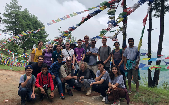 Georgie and fellow students in Nepal