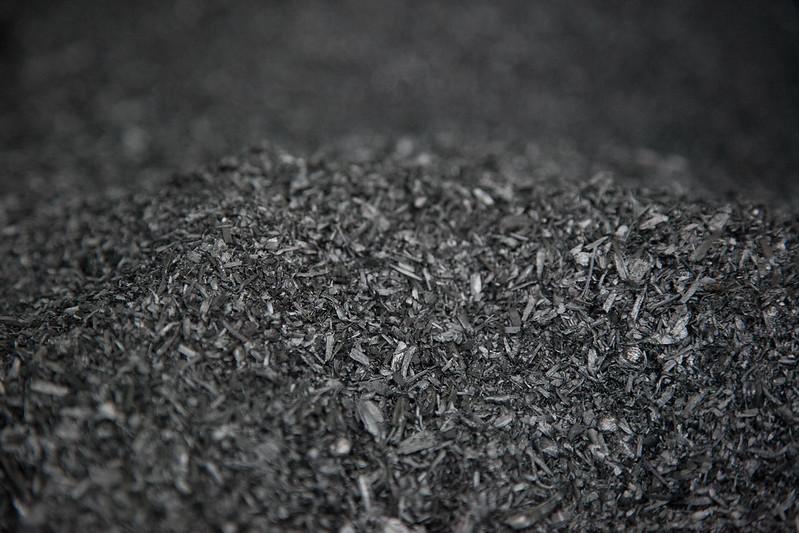 Closeup of pile of biochar