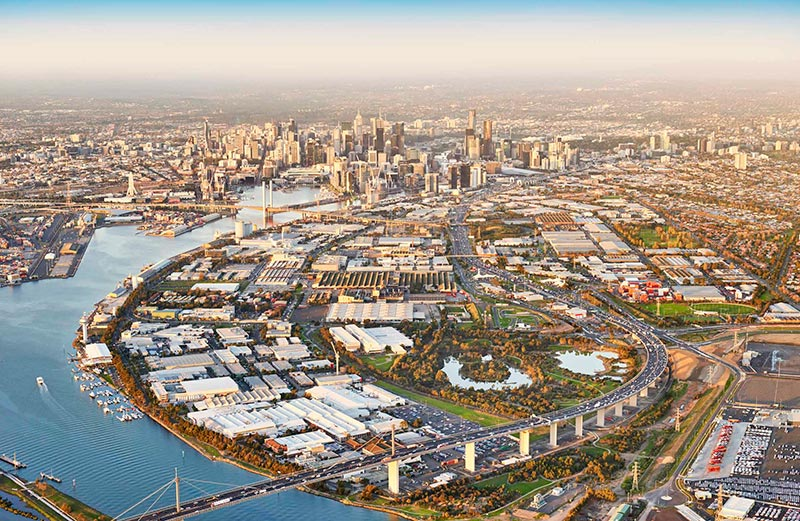 Drone photo of Fishermans Bend precinct viewed from above