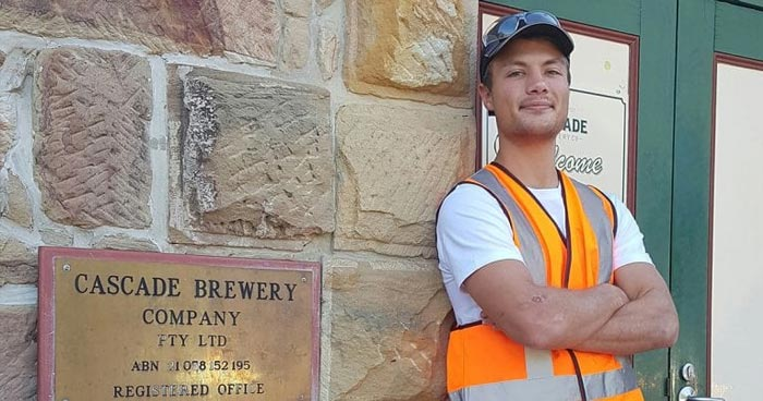 MSE graduate Dylan Potgieter at Cascade Brewery in Tasmania