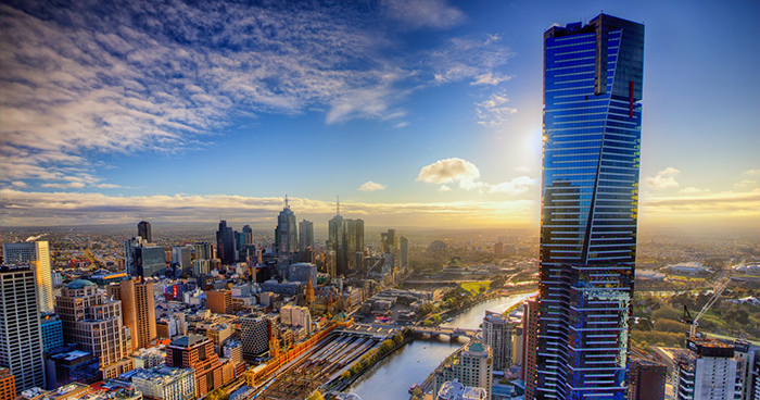 Aerial shot of Melbourne CBD viewed from Southbank