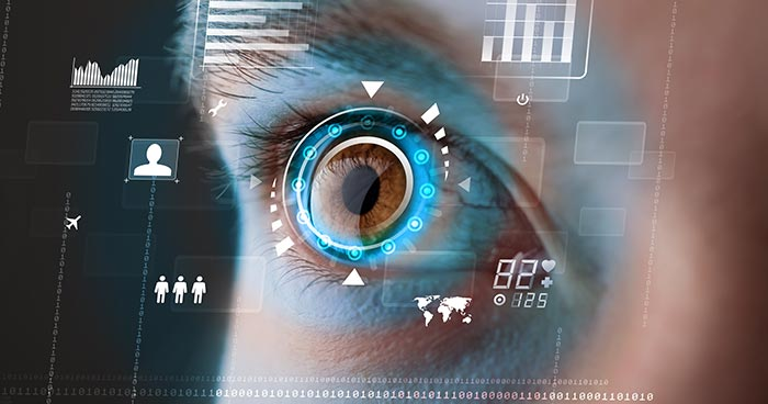 Close up of human eye with data visualisation overlaid representing augmented reality