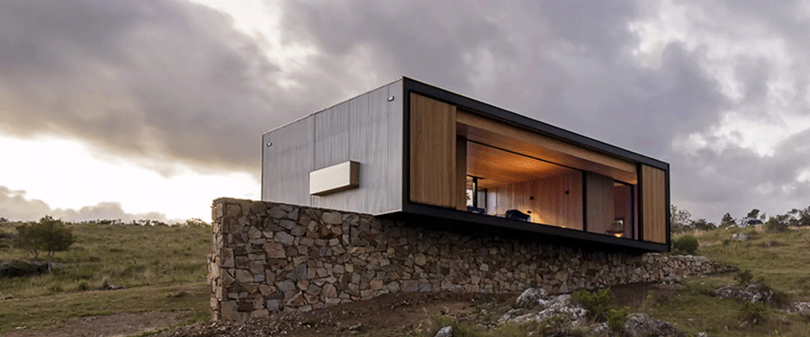 environmentally sustainable house on a hill