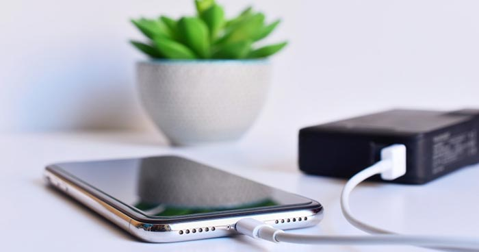 Smartphone charging on table with small plant in background