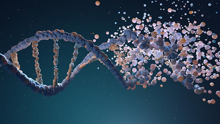3D render of DNA strand dissolving into particles at right