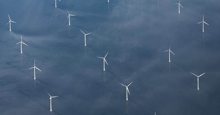 Offshore wind turbines viewed at a distance from above