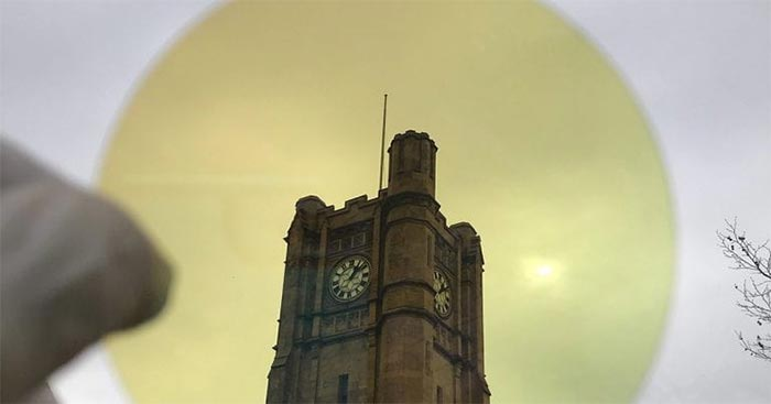 The University of Melbourne clocktower viewed through Dr Taha's manufactured material