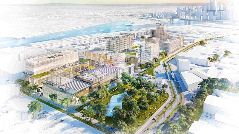 Artist's render of Fishermans Bend campus viewed from above