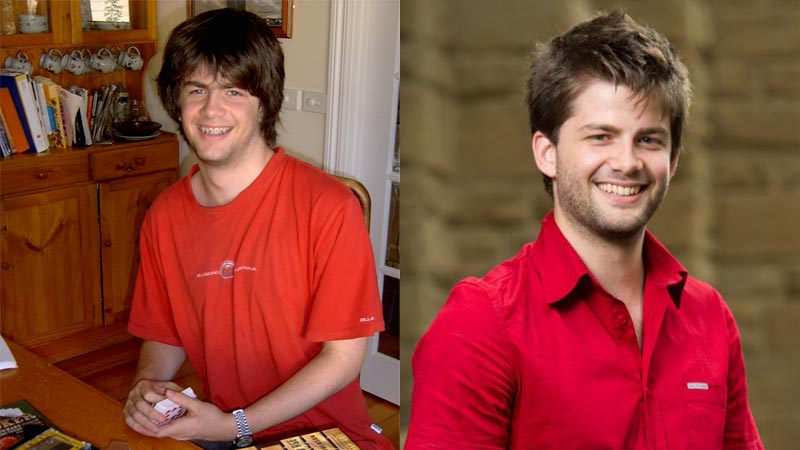 Two images of Daniel Payne, at 18 years old on the left and in his first year of medical school on the right